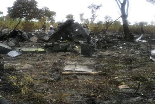 A handout picture released by the Namibian Transport Ministry shows the wreckage of a Mozambican Airlines plane