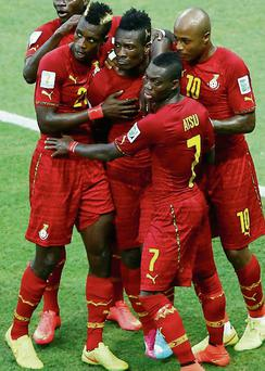 Innocent Ghana players mark a World Cup goal