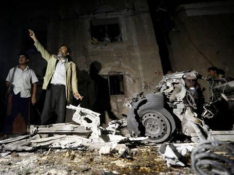 The wreckage of the Sanaa carbomb.