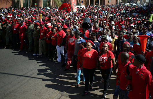 Anti-Zuma protesters and members of South Africa's ultra-left Economic Freedom Fighters party (EFF), march ahead of the failed vote of no confidence against President Jacob Zuma in Pretoria Photo: REUTERS/Siphiwe Sibeko