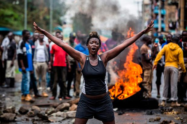 An opposition supporter in the Mathare district of Nairobi yesterday. Photo: Getty