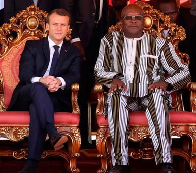 French President Emmanuel Macron with Burkina Faso's President Roch Marc Christian Kabore. Photo: Getty Images