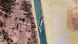 A satellite view of the Ever Given ship in the Suez canal yesterday