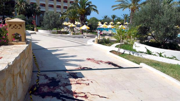 A blood stain covers the ground in the resort town of Sousse. Photo: Getty