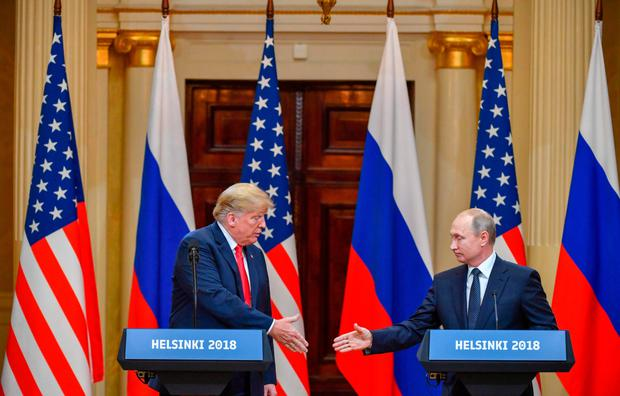 Donald Trump and Vladimir Putin at their press conference. Photo: Getty