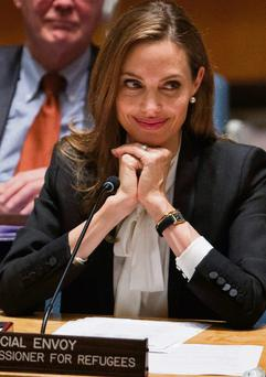 Angelina Jolie speaking before the UN Security Council at the United Nationals HQ in New York