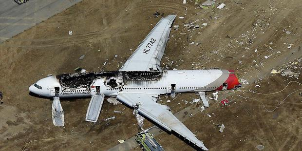 The wreckage of the plane crash in San Francisco, which claimed the lives of two Chinese schoolgirls