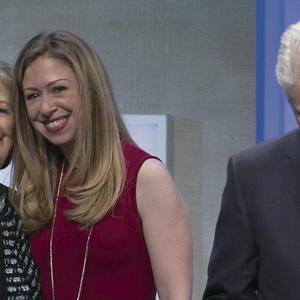 President Clinton with wife Hillary and daughter Chelsea, at the Clinton Global Initiative