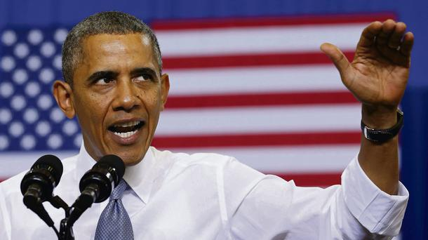President Barack Obama attacks Republicans in a speech in Maryland