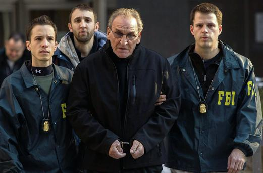 Vincent Asaro is escorted by FBI agents in New York yesterday in connection with 1978 Lufthansa heist at Kennedy airport