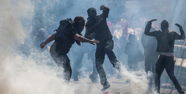 Demonstrators from the anarchist group Black Bloc clash with police in Sao Paulo. Photo: Victor Moriyama