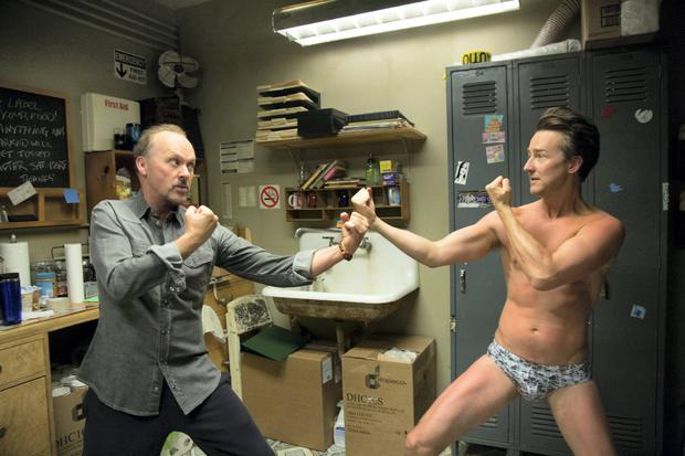 Michael Keaton, left, and Edward Norton in a scene from 'Birdman.'