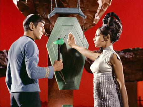 Leonard Nimoy as Mr Spock and Arlene Martel as T'Pring, in the Star Trek episode, 'Amok Time' in 1967