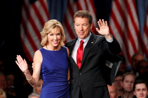 Rand Paul and his wife Kelley at the launch of his presidential bid. Paul's libertarian views set him apart in the crowded field for the Republican 2016 nomination