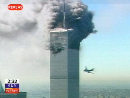 The hijacked jet striking the twin-towers in September 20111