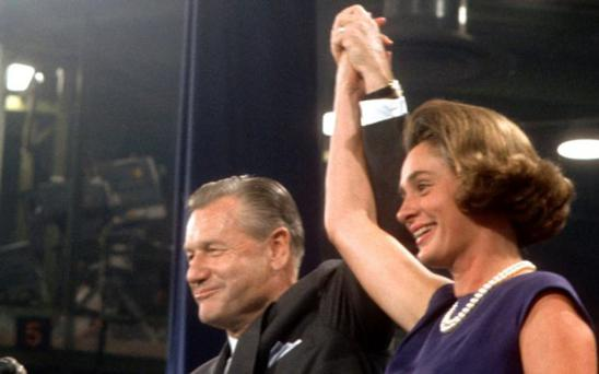 Happy and Nelson Rockefeller at the Republican Convention in July 1968 Photo by Dennis Brack B 7