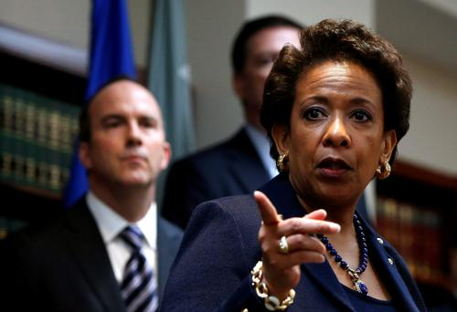 US Attorney General Loretta Lynch at a news conference in New York, where she 'issued Fifa a red card'