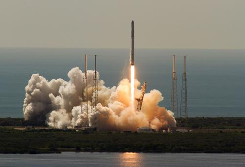 The unmanned SpaceX Falcon 9 rocket launches from Cape Canaveral, Florida, before exploding two minutes after lift-off