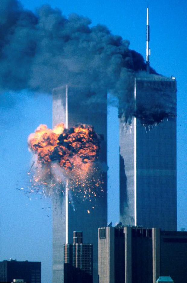 The Twin Towers in New York ablaze after two hi-jacked jets crashed into them