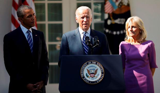 Joe Biden and his wife Jill as he announces that he will not seek the Democratic nomination for president in 2016