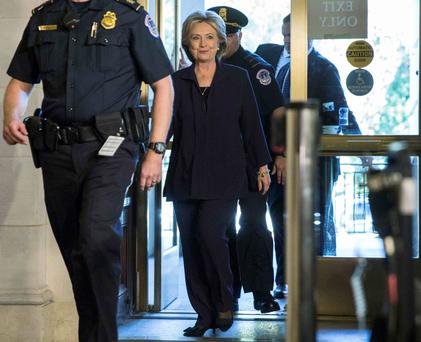 Hillary Clinton arriving to testify before the House Select Committee on Benghazi on Capitol Hill in Washington