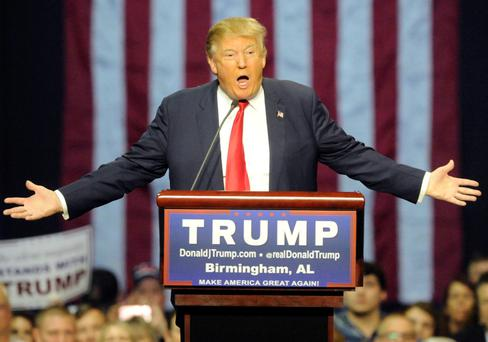Donald Trump during a campaign stop in Birmingham, Alabama