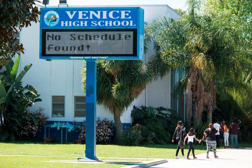 A sign at Venice High School in Los Angeles, California. All public schools in Los Angeles, the second-largest school district in the United States, were closed yesterday due to an emailed threat
