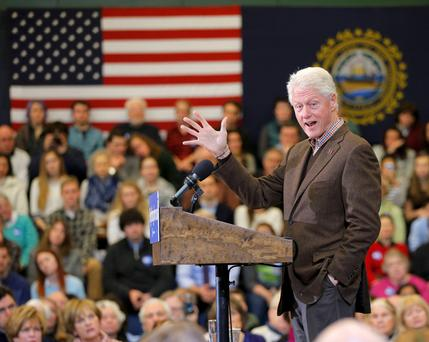 Former US President Bill Clinton addresses a campaign rally for his wife, Democratic presidential candidate Hillary Clinton, in Nashua, New Hampshire.