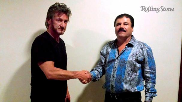 Actor Sean Penn shakes hands with Mexican drug lord Joaquin 'El Chapo' Guzman in Mexico during their meeting in October for a 'Rolling Stone' interview. Photo: Rolling Stone