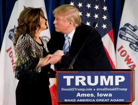 Donald Trump getting the endorsement of Sarah Palin.