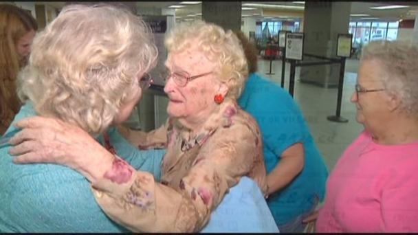Betty Morrell (82) is reunited with her mother Lena Pierce (96) after a search which spanned over five decades