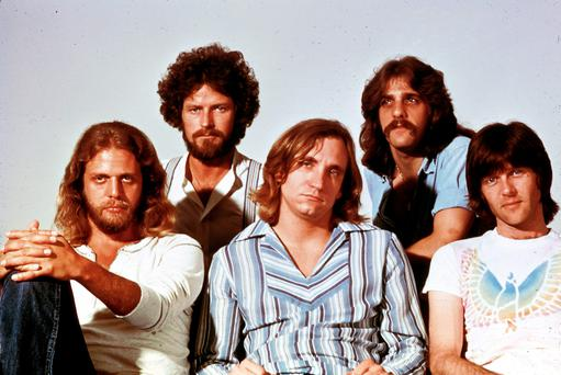 Randy Meisner, far right, with fellow Eagles members (left to right) Don Felder, Don Henley, Joe Walsh and Glenn Frey, at the peak of the band's fame in the late 1970s. Picture: RB/Redferns