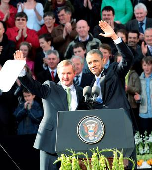 Taoiseach Enda Kenny and Barack Obama during the US president's 2011 visit to Ireland. Photo: Ray Cullen