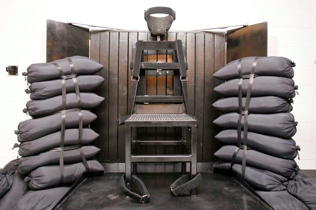 The execution chamber where Ronnie Lee Gardner was shot by a firing squad at the Utah State Prison in the US in 2010 Photo: Reuters