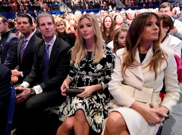 Donald Trump's wife Melania (right), daughter Ivanka, and son Eric at a Republican debate in Charleston, South Carolina. Photo: AFP/Getty Images