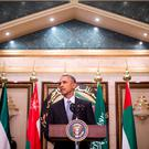 US President Barack Obama delivers a speech following a US-Gulf Cooperation Council Summit in Riyadh, on April 21, 2016.