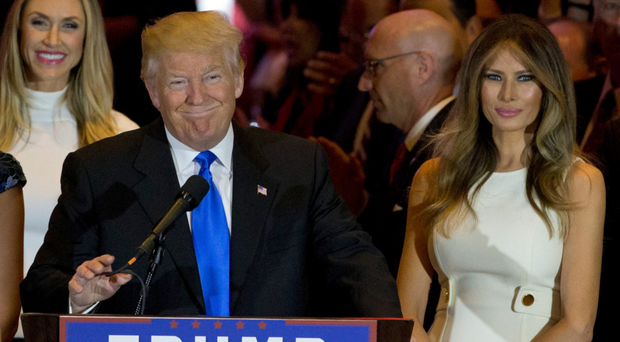 Donald Trump with his wife Melania, right, as he celebrates his win in Indiana. Photo: Mary Altaffer/AP