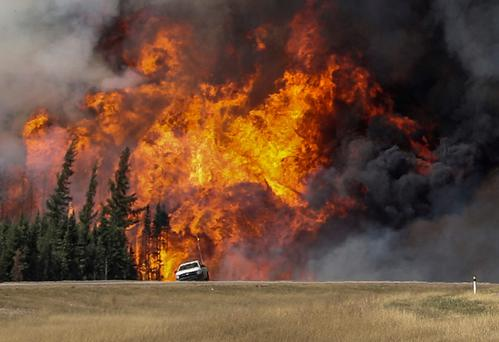 Flames erupt as a driver flees near Fort McMurray. Photo: Reuters