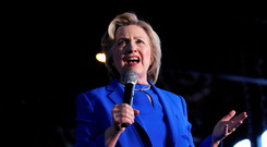 US Democratic presidential frontrunner Hillary Clinton, pictured at a rally in Louisville, Kentucky, has seen her poll lead over likely GOP candidate Donald Trump shrink. Photo: John Sommers/Reuters