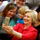 US Democratic presidential candidate Hillary Clinton greets supporters at Transylvania University in Lexington, Kentucky. Photo: Reuters