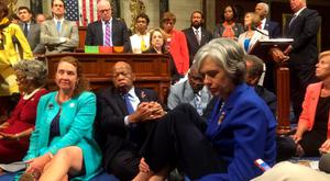 Democrats stage a sit-in on the House of Representatives floor