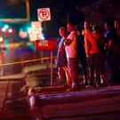 A crowd at the scene of the shooting in Falcon Heights, Minnesota. Photo: AP