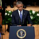 US President Barack Obama speaks at the memorial ceremony in Dallas