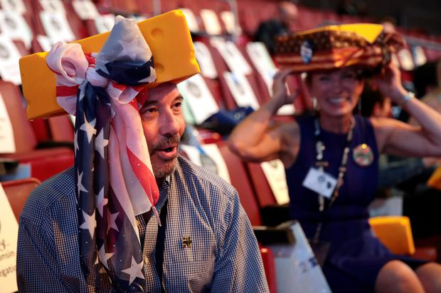 Wisconsin delegate Michael Childers attends the fourth day of the Democratic National Convention at the Wells Fargo Center