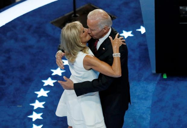 Vice President Joe Biden kisses his wife Jill