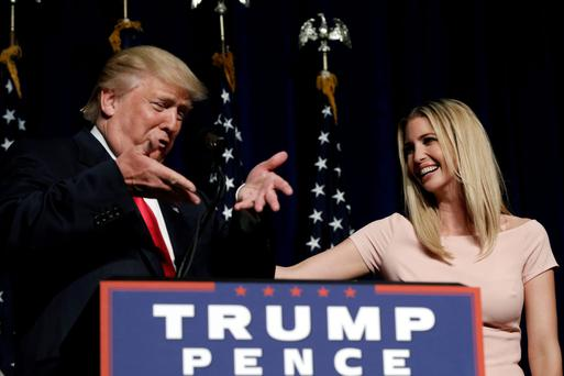 Donald Trump with daughter Ivanka at a campaign rally in Greenville, North Carolina