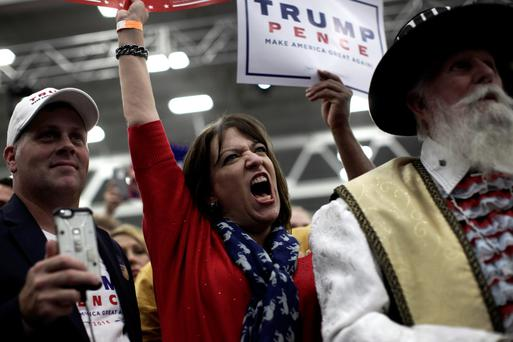 Supporters of Republican presidential nominee Donald Trump cheer at a rally in Manheim, Pennsylvania. Photo: Reuters/Mike Segar