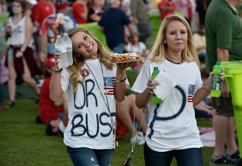 Supporters after a visit to the concession stand during a rally for Donald Trump in Panama City, Florida.