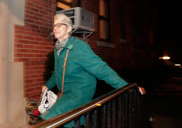 Jessica Leeds arrives at her apartment building