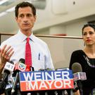 Anthony Weiner and his then wife Huma Abedin pictured together in 2013 when he was running for New York mayor. Photo: AP